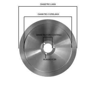 lama per affettatrice diametro 300mm foro 40mm fori 3 Ø interno 250mm altezza 14,5mm c45 (tn) esterno gradino sul mozzo 240 mm